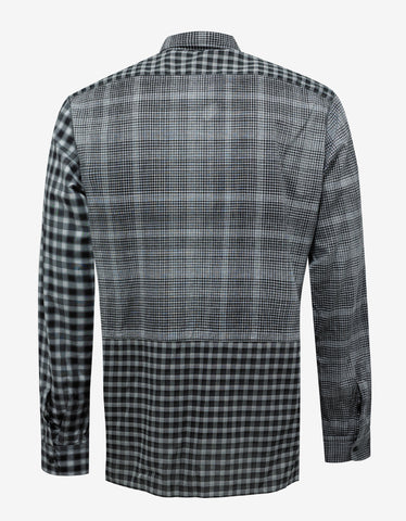 Lanvin Black & White Patchwork Check Shirt