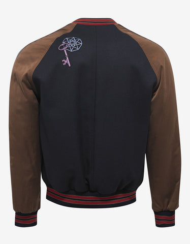 Lanvin Navy Blue Baseball Jacket with Embroidery