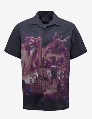 Dark Blue 'The Refinery' Print Bowling Shirt