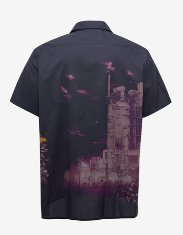 Lanvin Dark Blue 'The Refinery' Print Bowling Shirt