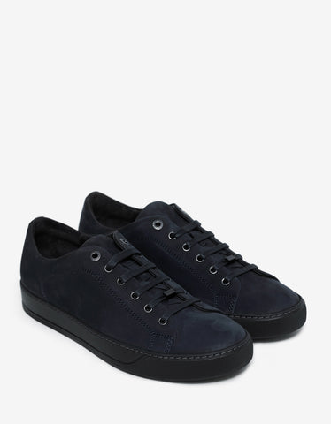 Lanvin Navy Blue Nubuck Leather Trainers