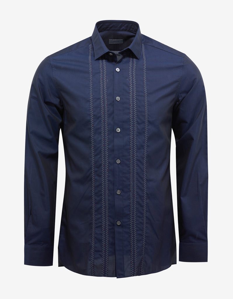 Navy Blue Silk Blend Shirt with Embroidery