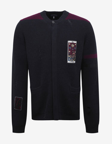 Lanvin Navy Blue Wool Cardigan with Patches