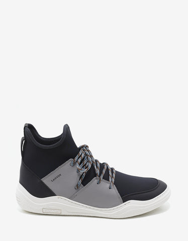 Lanvin Neoprene & Leather High Top Diving Trainers