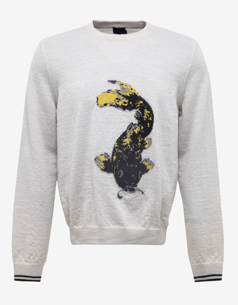 Off-White Koi Fish Graphic Wool Sweater