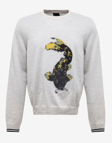 Lanvin Off-White Koi Fish Graphic Wool Sweater