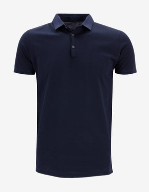 Blue-Purple Polo T-Shirt with Grosgrain Collar