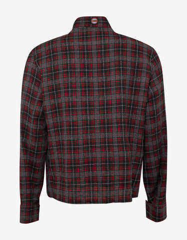 Lanvin Red & Grey Check Shirt with Patches