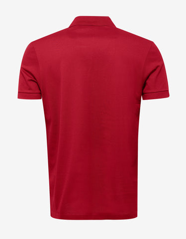 Lanvin Red Polo T-Shirt with Embroidered Patches