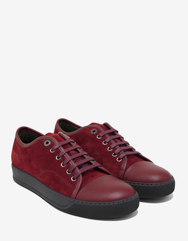 Lanvin Crimson Red Suede Trainers with Leather Toe Cap