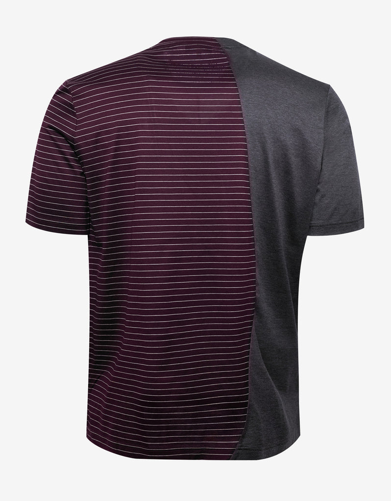 Splash Print & Burgundy Stripe T-Shirt