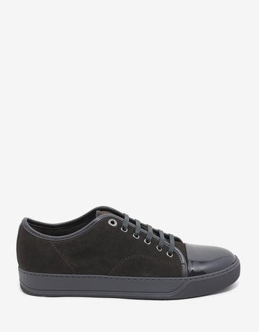 Lanvin Taupe Grey Suede Leather Trainers with Patent Toe Cap