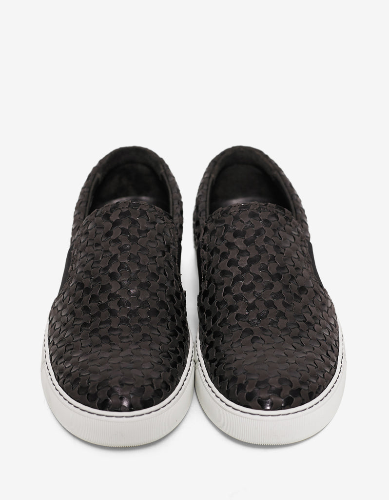 Woven Leather Slip On Trainers