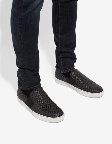 Lanvin Woven Leather Slip On Trainers