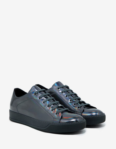 Lanvin Gun Metal Grey Iridescent Leather Trainers