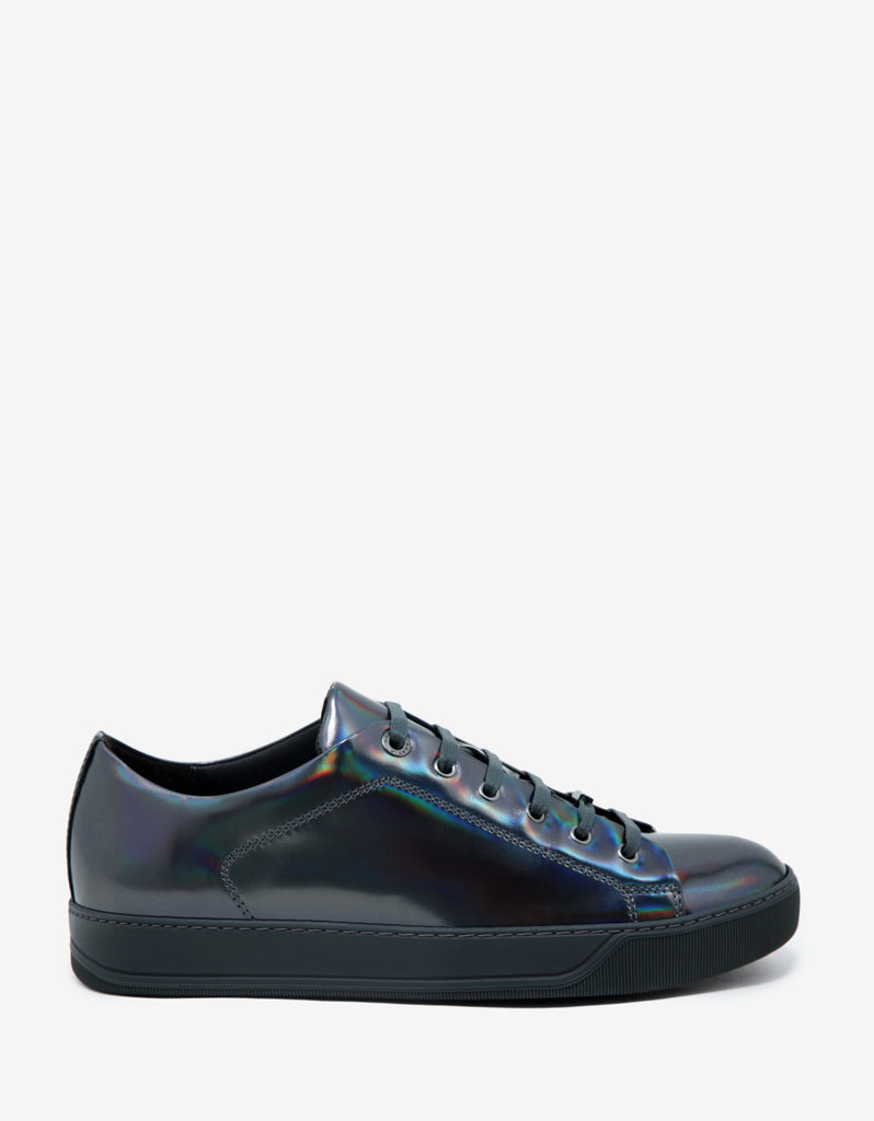 Gun Metal Grey Iridescent Leather Trainers