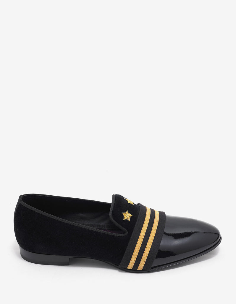 Black Velvet & Leather Embroidered Slippers