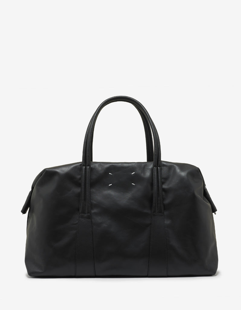 Black Leather Weekend Bag