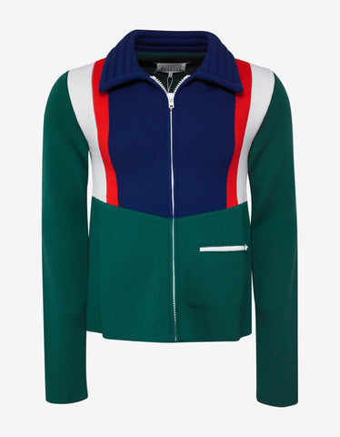 Maison Margiela Colour Block Panel Zip-Up Knitwear