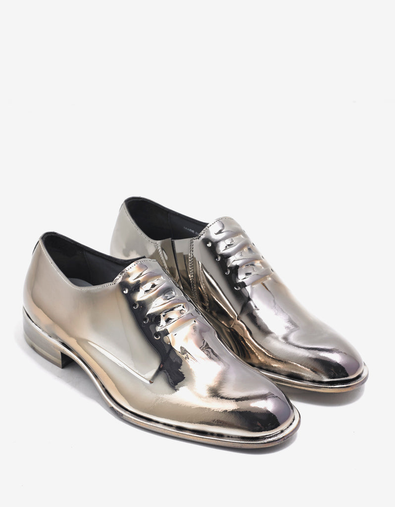 Metallic Gold Leather Oxford Shoes