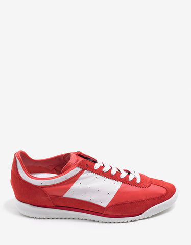 Maison Margiela Red & White Leather & Suede Running Trainers