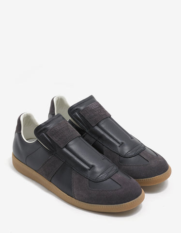 Maison Margiela Replica Black & Grey Leather Trainers
