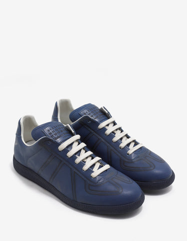 Maison Margiela Replica Blue Leather Trainers