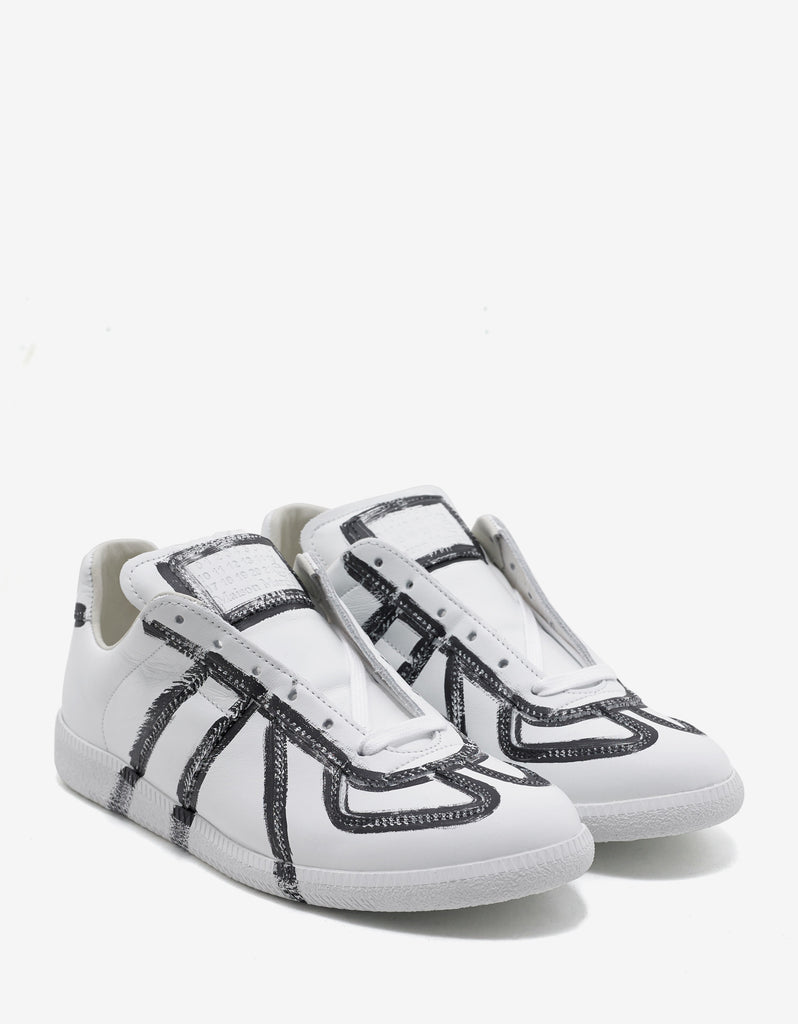 Replica Paint Effect White Trainers