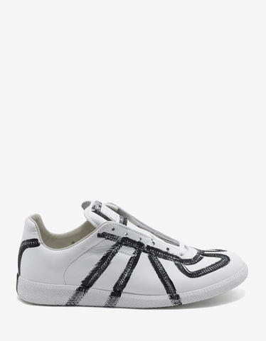 Maison Margiela Replica Paint Effect White Trainers