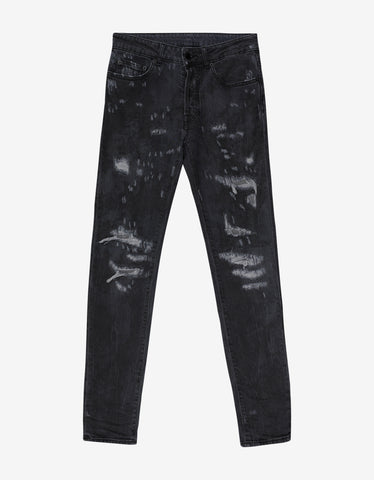 Marcelo Burlon Arke Black Tie-Dye Distressed Slim Jeans