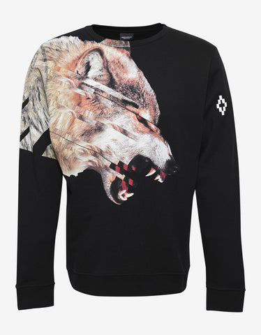 Marcelo Burlon Cruces Black Wolf Graphic Print Sweatshirt