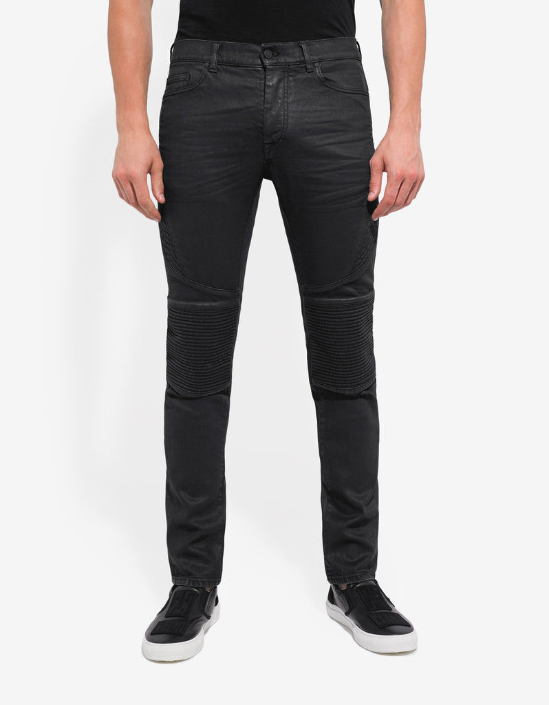 Black Biker Slim Fit Overdye Jeans