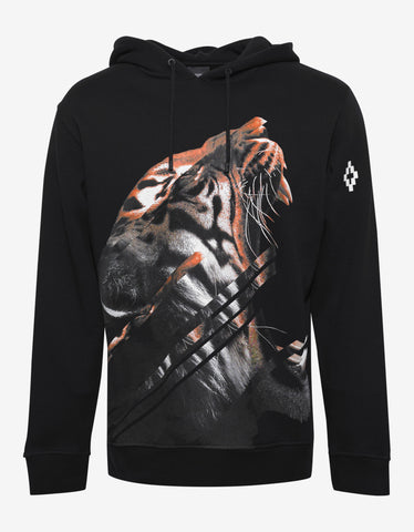 Marcelo Burlon Quebradas Black Tiger Graphic Print Hoodie