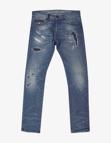 Marcelo Burlon Blue Slim Fit Vintage Wash Jeans