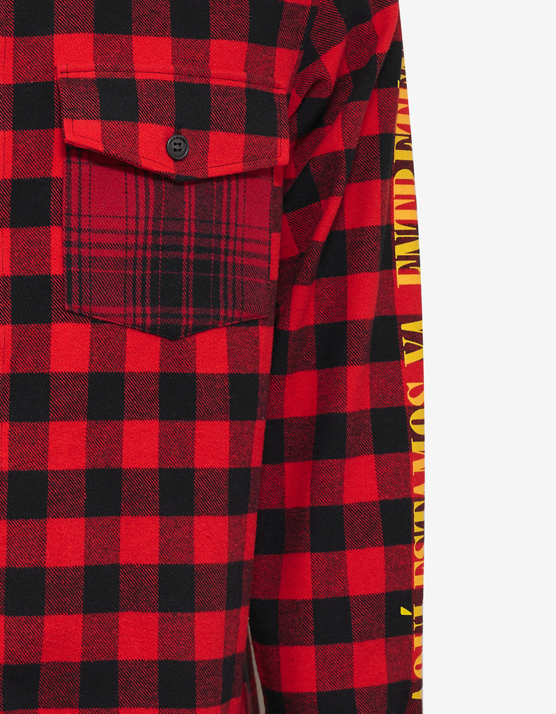 Eagle Print Red Flannel Shirt