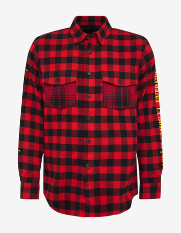 Marcelo Burlon Eagle Print Red Flannel Shirt