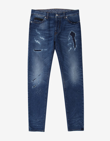 Marcelo Burlon Enrique Blue Distressed Slim Jeans