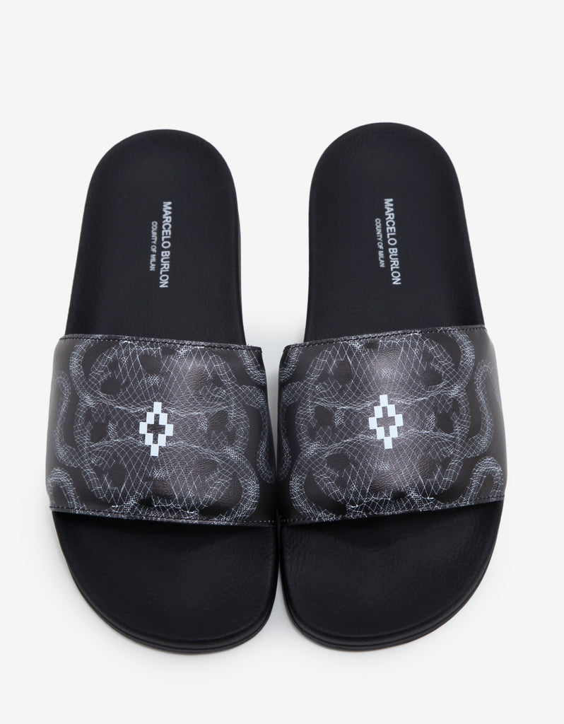 Essie Black Snakes Print Slide Sandals