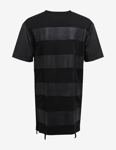 Marcelo Burlon Galeras Black T-Shirt with Faux Leather Bands