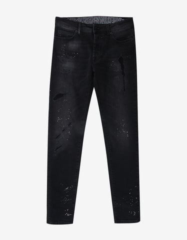 Marcelo Burlon Gregorio Black Distressed Slim Jeans