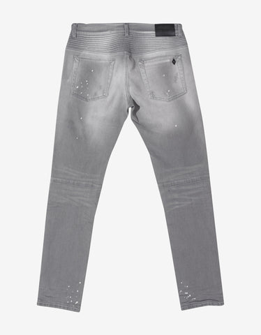 Marcelo Burlon Grey Biker Slim Fit Denim Jeans