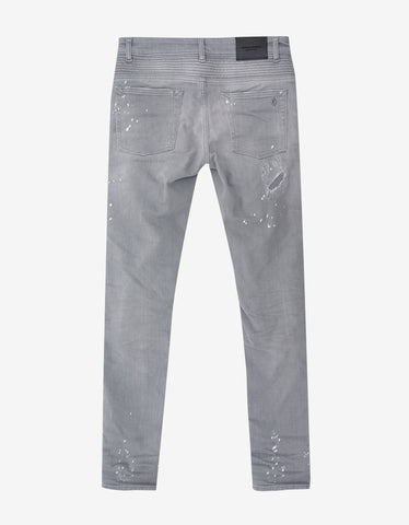 Marcelo Burlon Greg Grey Distressed Slim Jeans