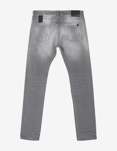 Marcelo Burlon Grey Distressed Slim Fit Jeans
