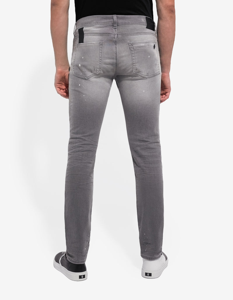 Grey Distressed Slim Fit Jeans