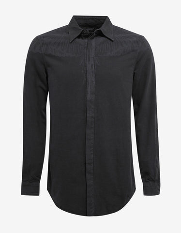 Marcelo Burlon Hoyada Washed Black Graphic Print Shirt