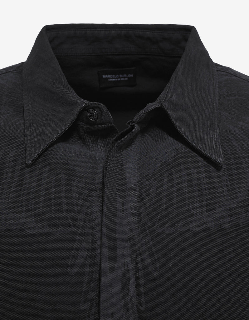 Hoyada Washed Black Graphic Print Shirt