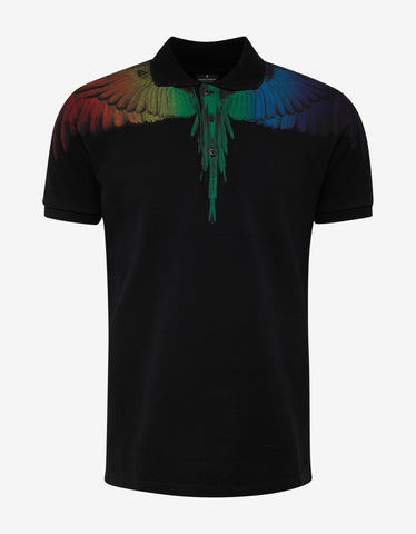 Marcelo Burlon Rainbow Wing Black Polo T-Shirt