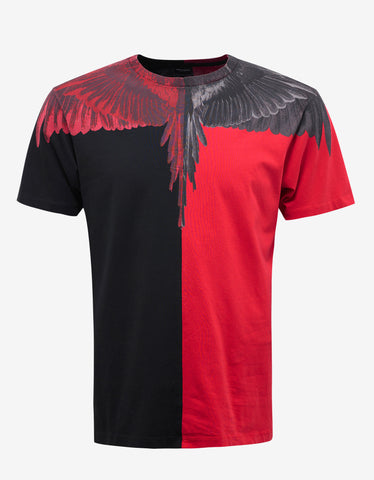 Marcelo Burlon Paz Red & Black Wings Print T-Shirt