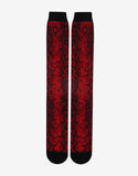 Adrian Red & Black Reptile Print Long Socks