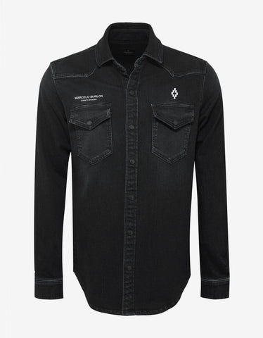 Marcelo Burlon Stone Wash Denim Black Logo Shirt